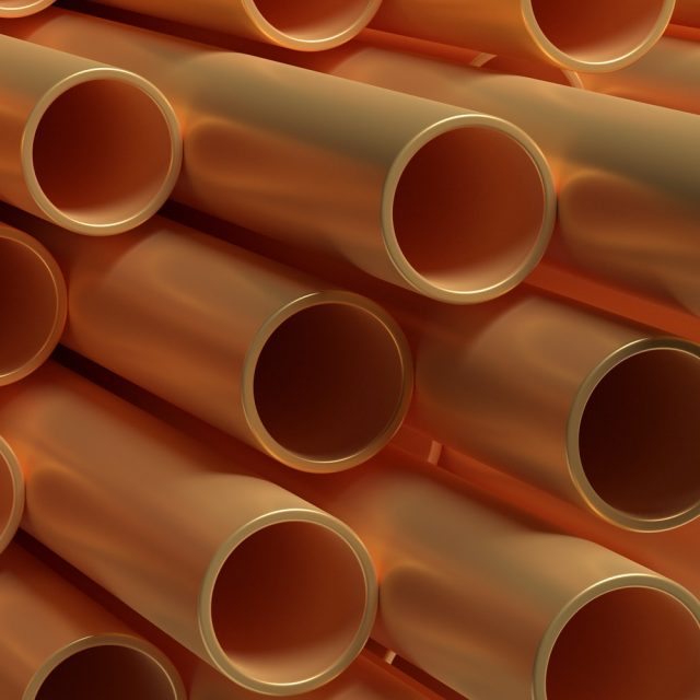 Pipes tubes copper metal, round profile, full background. 3d illustration