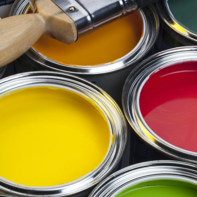 Interior Design - Colorful water-based paints used in painting and decorating.